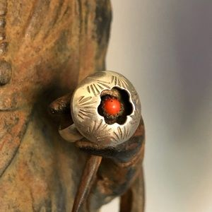 Vintage Sterling & Coral Shadow Box Ring